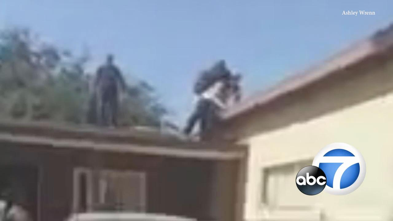 Video shows an elderly grandfather throw a man off his roof after the agitated suspect jumped from home to home in a La Puente neighborhood on Tuesday, Sept. 12, 2017.