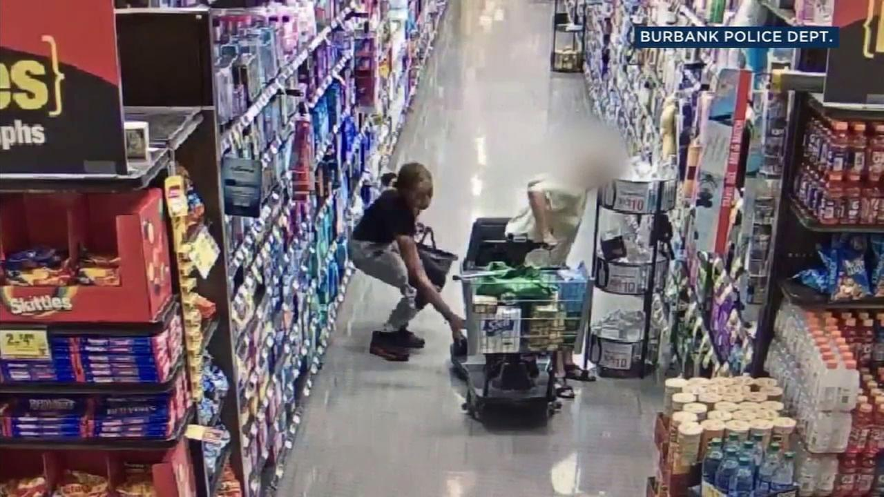 Store surveillance video shows a suspect stealing a purse from an 82-year-old woman in a scooter at a Ralphs in Burbank.