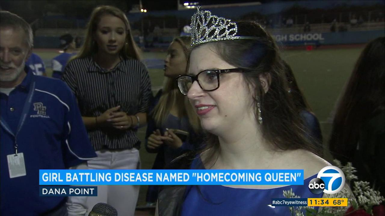 Riley McCoy, a senior at Dana Hills High School in Dana Point who is battling a rare genetic disease, was named homecoming queen Friday, Sept. 15, 2017.