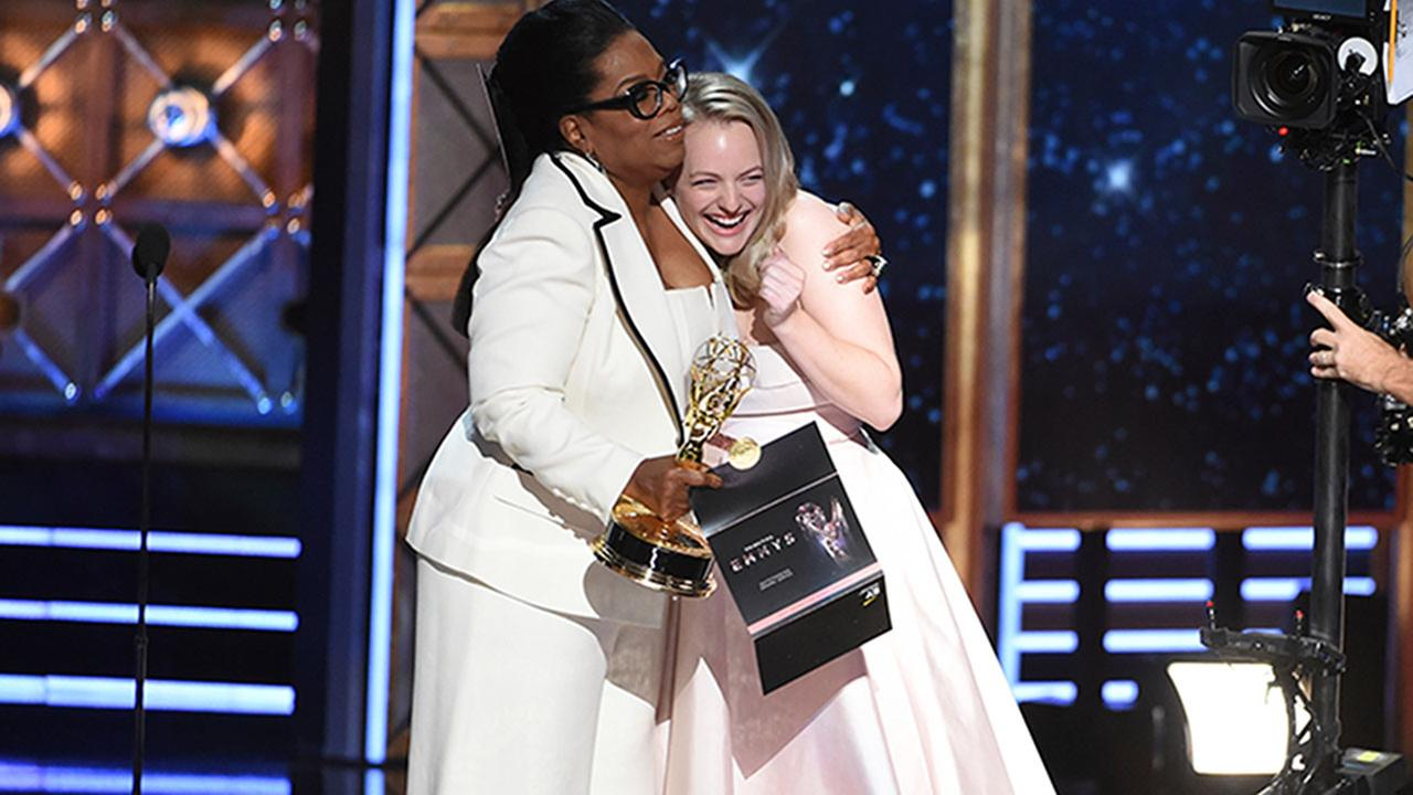 Oprah Winfrey presents the Emmy for Lead Actress in a Drama Series to Elisabeth Moss of The Handmaids Tale. The Hulu series won five awards on Sunday, Sept. 17, 2017.