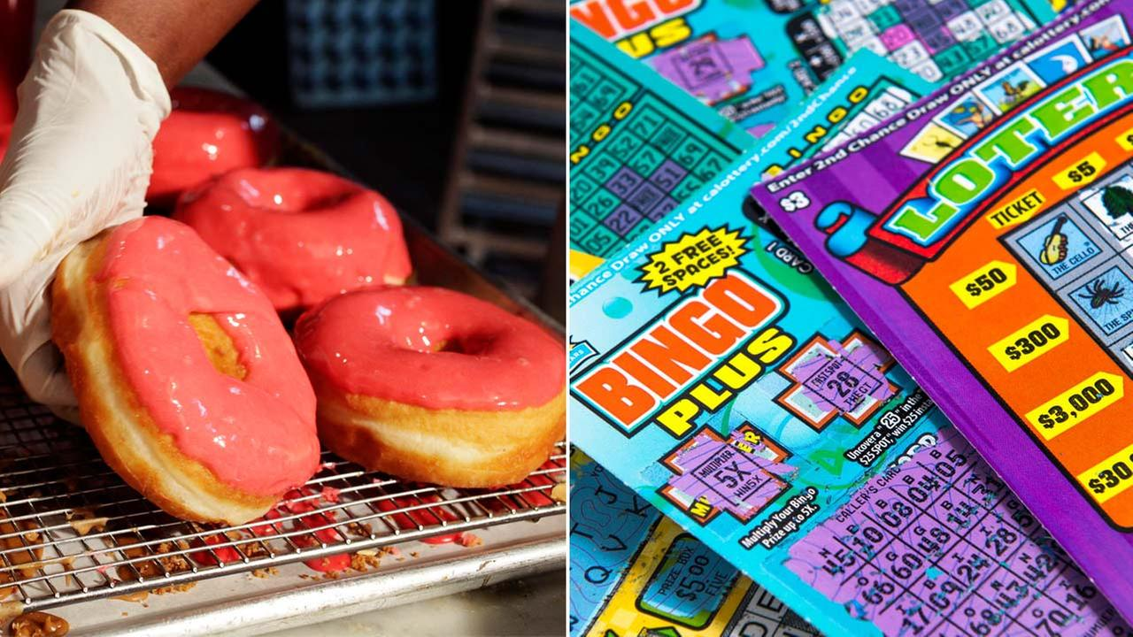 (Right) Scratchers tickets are shown in a file photo. (Left) Pink frosted doughnuts are seen in a file photo.