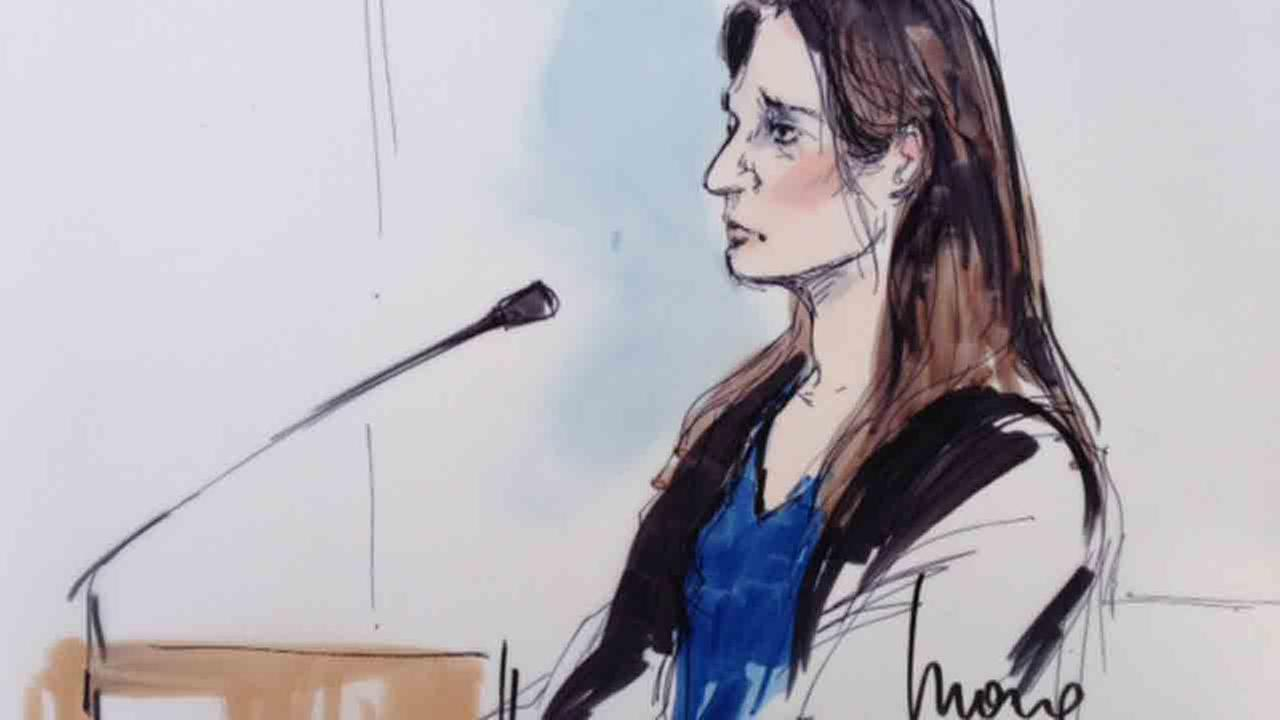 A courtroom sketch shows Aurora Barrera during her sentencing hearing on Wednesday, Aug. 6, 2014.