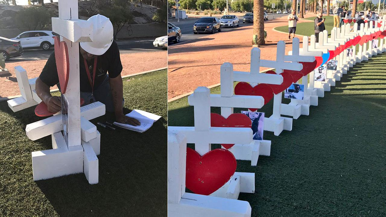 A Chicago man drove to Las Vegas to place 58 crosses in honor of the victims of the shooting at Mandalay Bay.