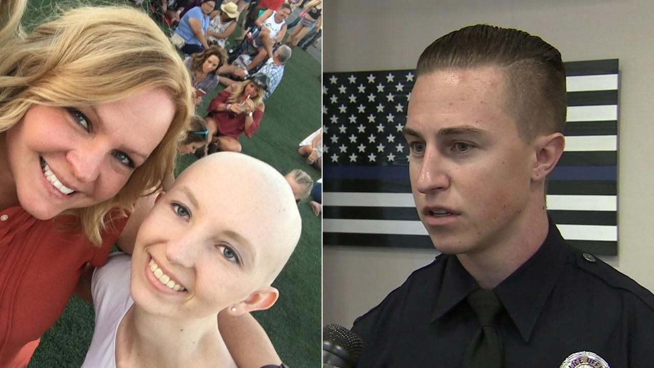 Cassidy, a Nevada girl who has cancer, is shown in a photo with her mom from the Route 91 Harvest Festival alongside LAPD Officer Mitchell Totsi, who rescued her in the shooting.
