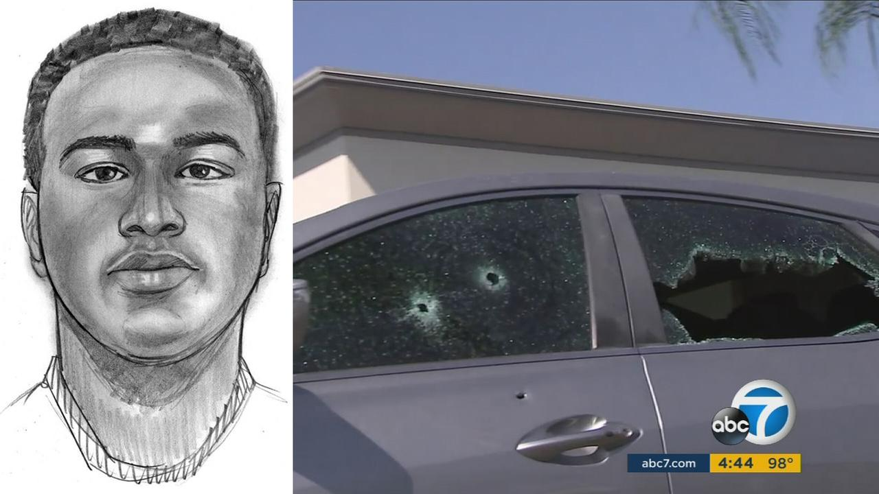 A suspect is seen in a composite sketch distributed by the Riverside Police Department.