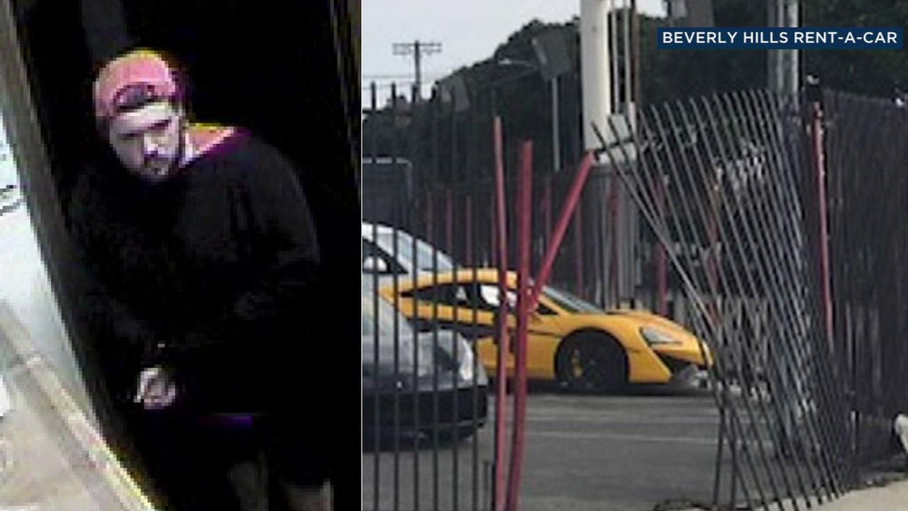 A suspect was caught on surveillance video breaking into an exotic-car rental lot near LAX, but was unable to smash the gate open wide enough to steal a vehicle.