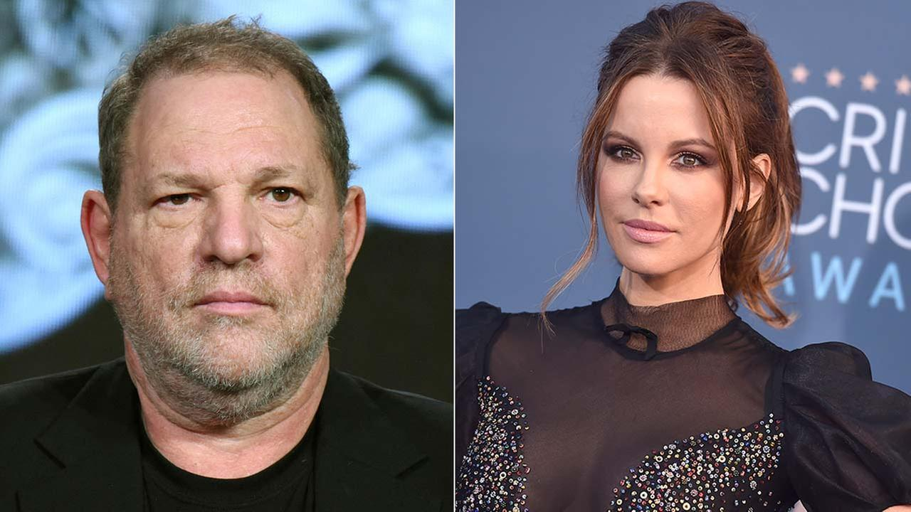 (Left) Harvey Weinstein is seen in this Jan. 6, 2016 file photo. (Right) Kate Beckinsale arrives at the 22nd annual Critics Choice Awards in 2016.