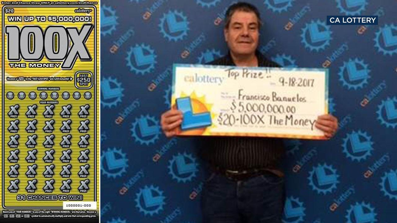 Francisco Banuelos, 58, won $5 million from a $20 scratcher ticket bought at a Pasadena liquor store.