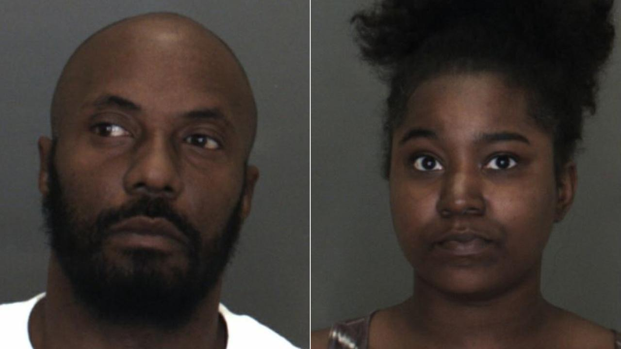 Andre Winn (left) and Victoria Cantey (right) shown in booking photos provided by the San Bernardino County Sheriffs Department.