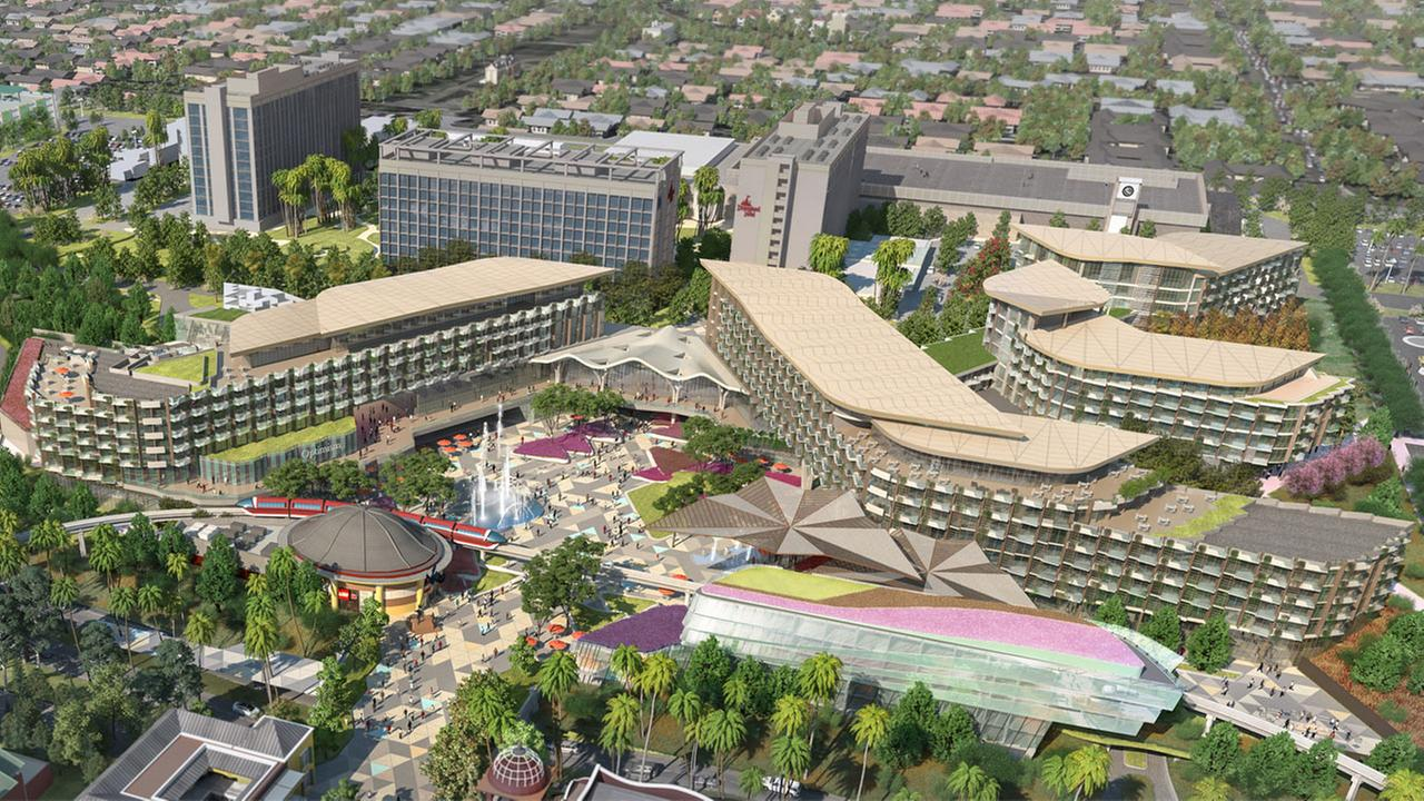 A rendering of the new and unnamed Disneyland hotel is shown in the Downtown Disney District.