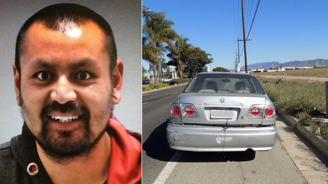 Genoro Lopez, 29, of Oxnard, is shown in a mugshot alongside an image of the car he made his nephew drive in Port Hueneme on Oct. 22, 2017.