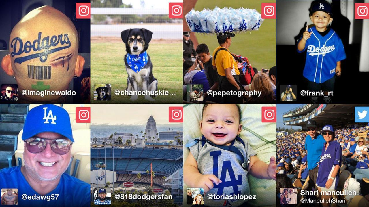 Los Angeles Dodgers fans show support for the boys in blue with their Dodgers gear.