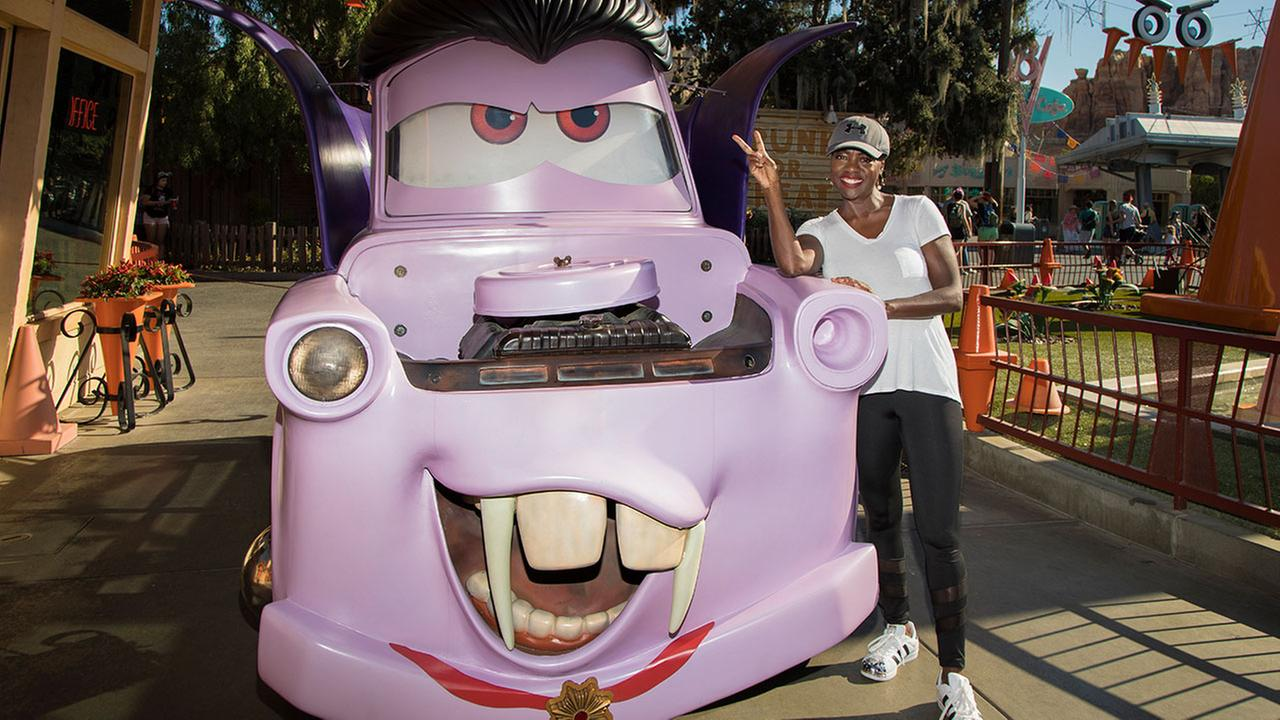 Oscar-winning actress Viola Davis celebrates Haul-O-Ween with Mater at Cars Land in Disney California Adventure Park in Anaheim, Calif., on Thursday, Oct. 26, 2017.