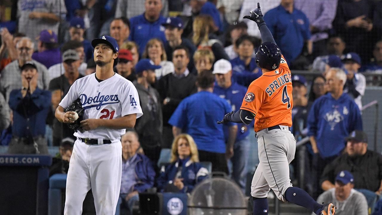 Astro George Springer hit a two-run home run off Dodgers starting pitcher Yu Darvish during Game 7 of the World Series Wednesday, Nov. 1, 2017, in Los Angeles.