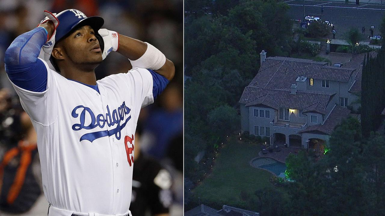 AIR7 HD captures what is believed to be Dodgers Yasiel Puigs home in Encino, which was burglarized on the same night of the World Series Wednesday, Nov. 2, 2017.