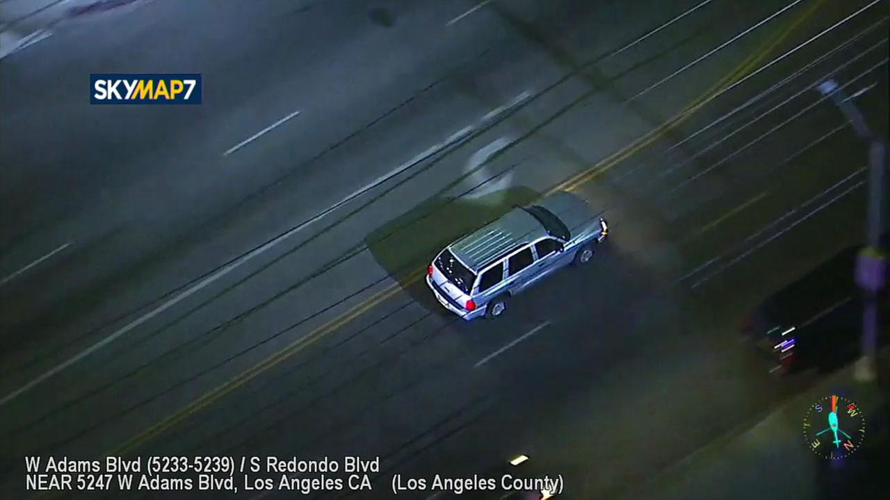 A driver wanted for vandalism was chased through surface streets in Los Angeles after leading police on a chase on Thursday, Nov. 2, 2017.
