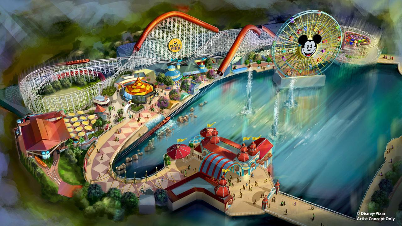A rendering of the newly themed Pixar Pier at Disneys California Adventure, which includes the Incredicoaster, is shown.