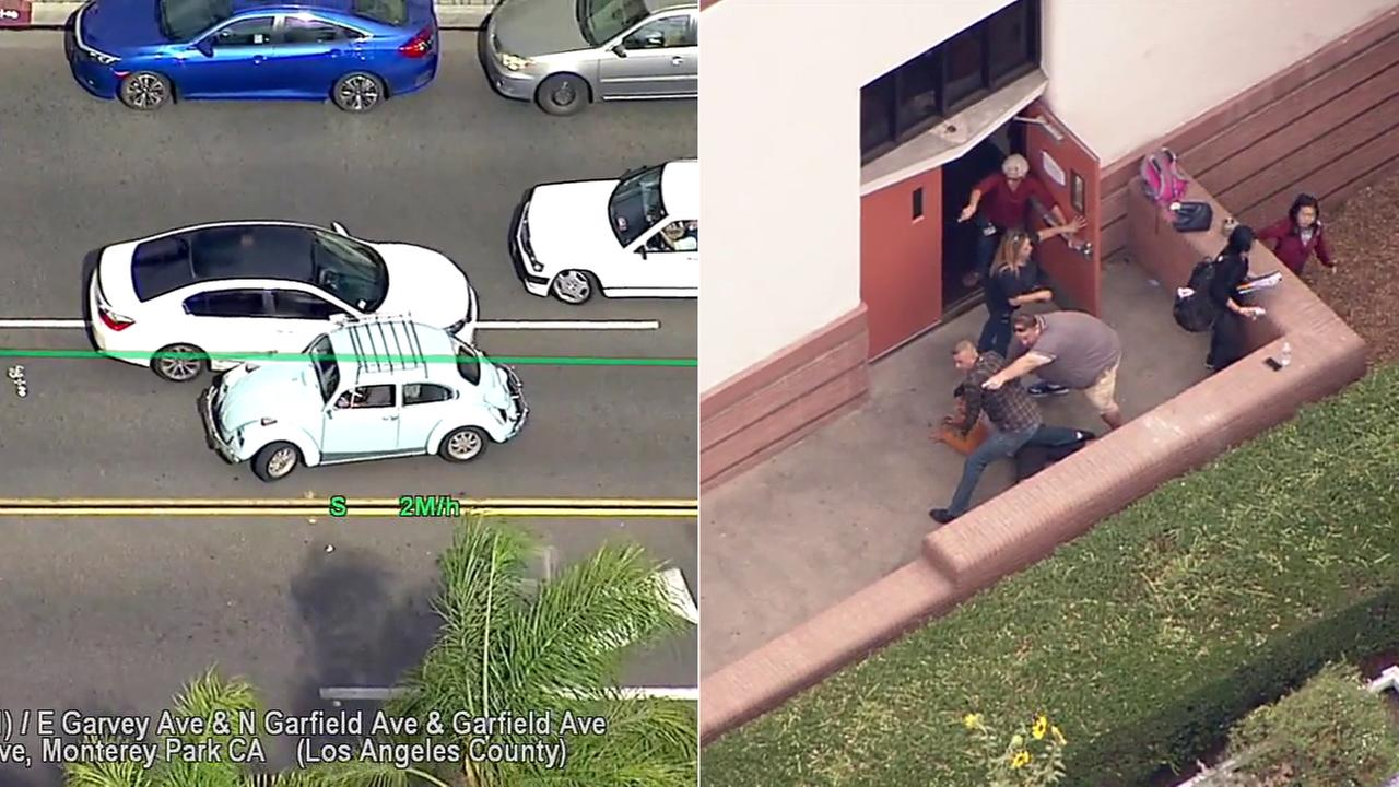 The driver of a stolen car was taken into custody Friday afternoon at a high school in Alhambra after leading authorities on a high-speed chase.
