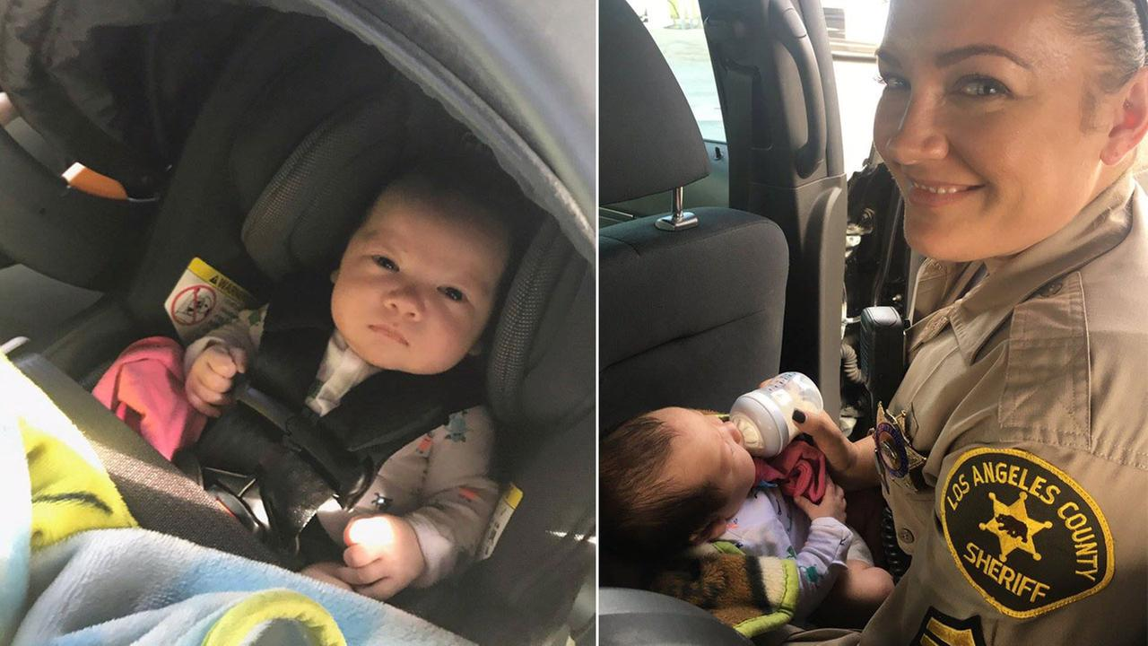 Jefferson Gomes, a 2-month-old baby boy, is shown safe in the custody of Los Angeles County sheriffs deputies on Saturday, Nov. 4, 2017, after an Amber Alert was issued for him.