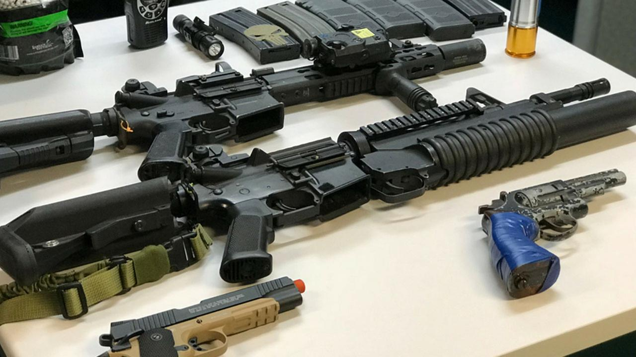 Authorities provided a photo of the replica weapons found the suspect, Joseph Fierros, vehicle after a search on Saturday, Nov. 4, 2017.