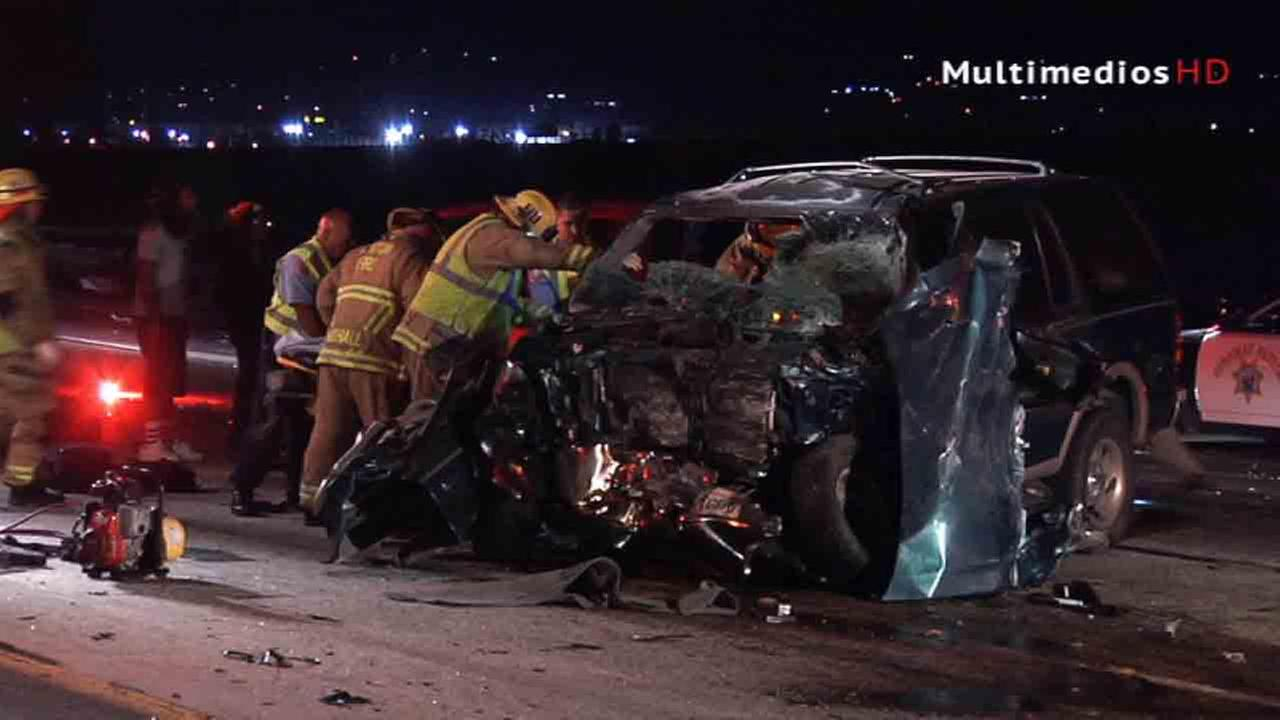 A wrong-way driver slammed into a big-rig near 9th Street on the eastbound lanes of the 10 Freeway in Colton Saturday, Aug. 16, 2014.