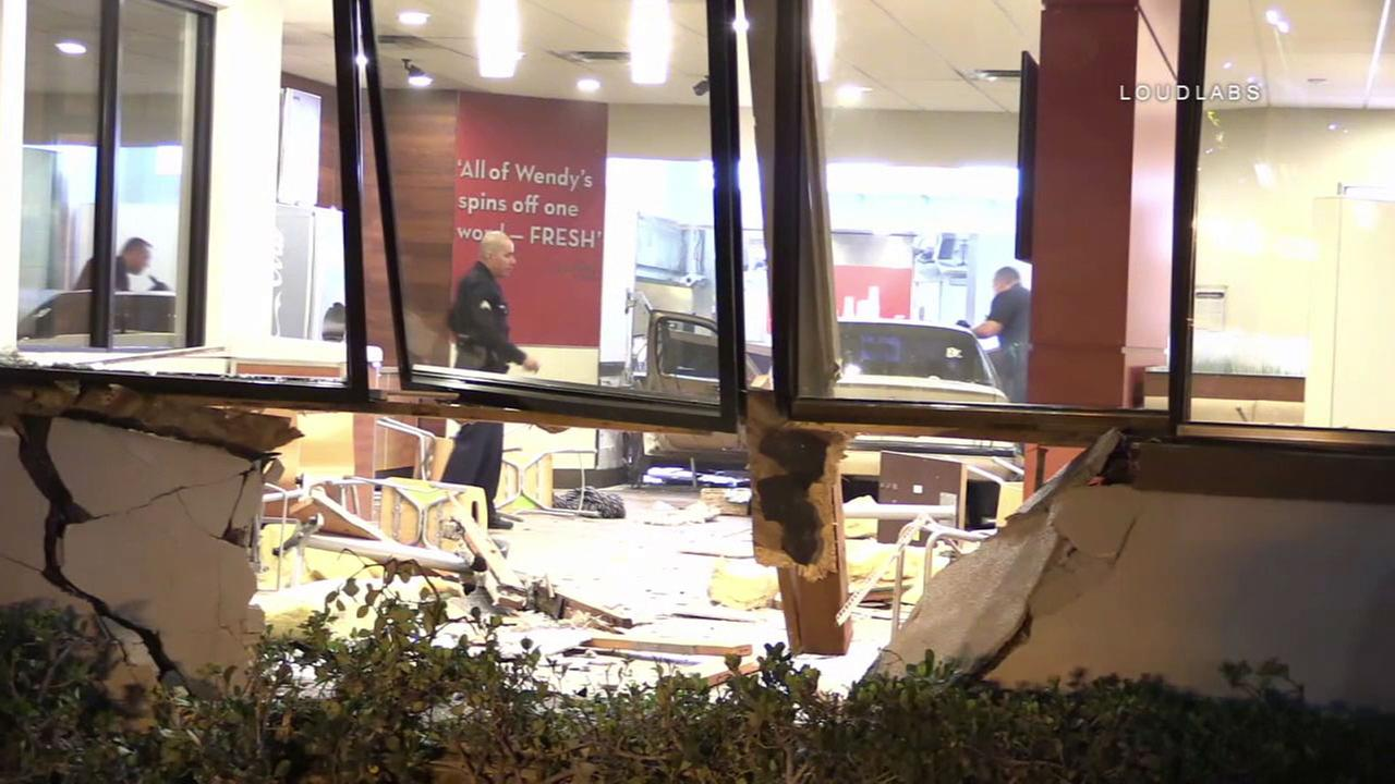 A car crashed into a Wendys in Panorama City after the driver was shot on Friday, Nov. 17, 2017.