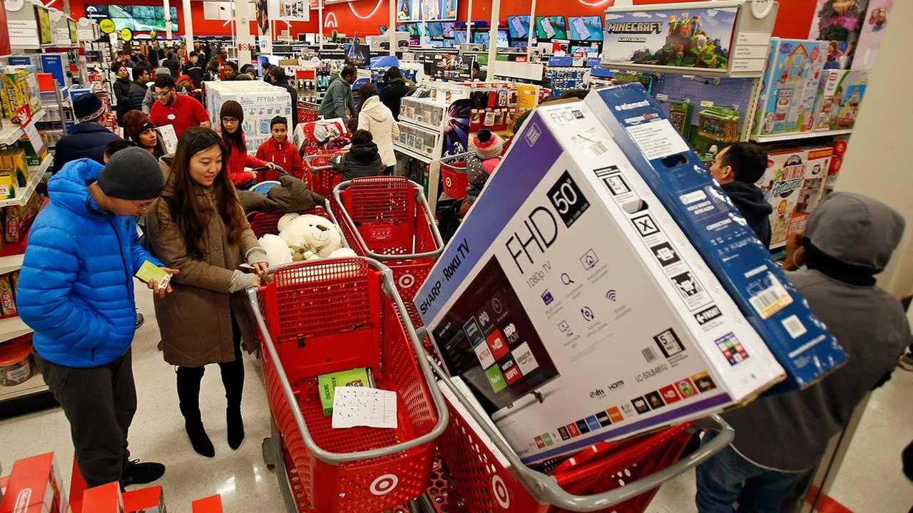 Shoppers shop at Target on Thursday, Nov. 23, 2017, in Jersey City, New Jersey.