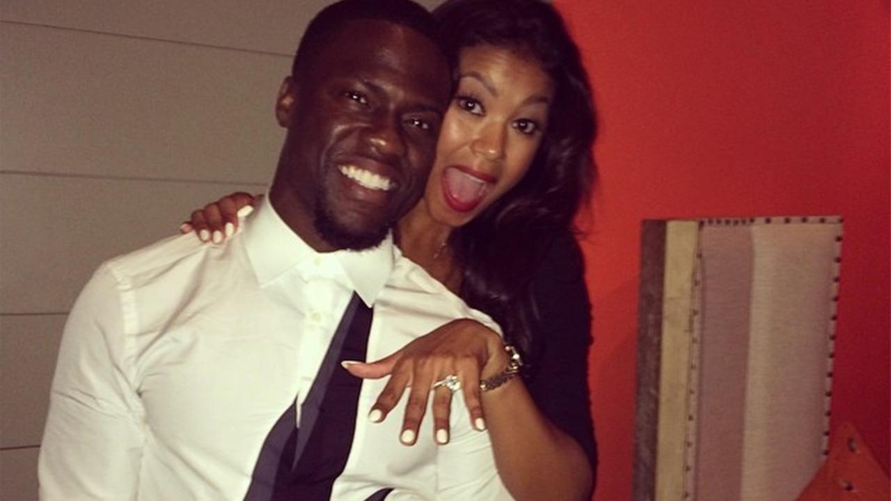 Kevin Hart posted this photo on Instagram following his engagement to Eniko Parrish on Monday, Aug. 18, 2014.