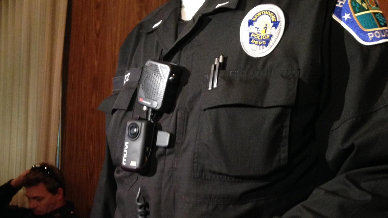 A prototype of a wearable camera for Hawthorne police officers is seen on Tuesday, Aug. 19, 2014.