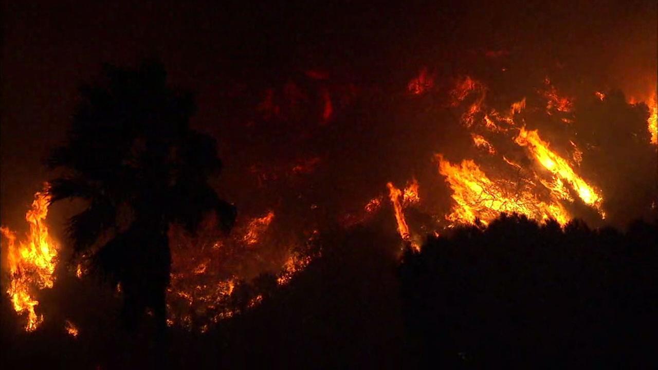 A hillside near Santa Paula and Ventura burned as a wind-driven blaze moved through the area on Monday, Dec. 4, 2017.