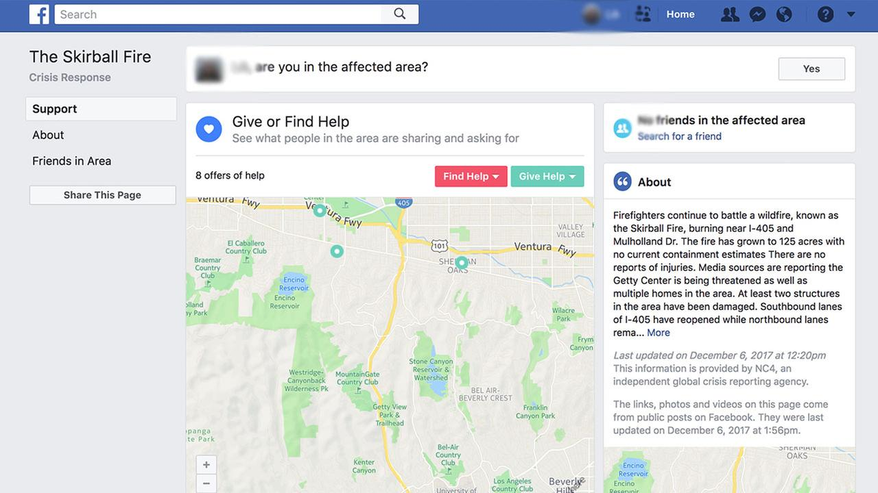 Facebook activates multiple Safety Check pages for Southern California fires