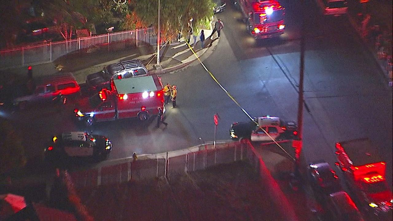 Authorities responded to the scene of a reported triple shooting in Pacoima on Friday, Dec. 15, 2017.