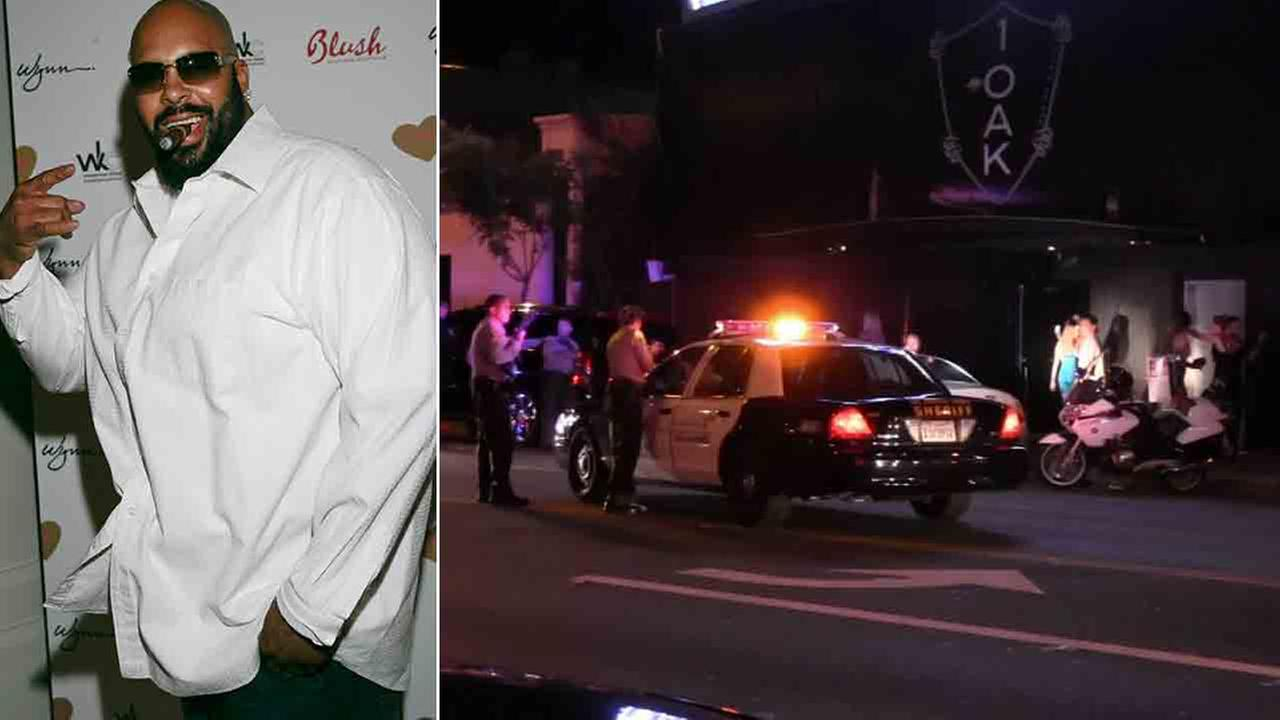 Suge Knight is seen in this undated file photo (left). Los Angeles County sheriffs deputies respond to the scene of a shooting at 1OAK nightclub Sunday, Aug. 24, 2014 (right).