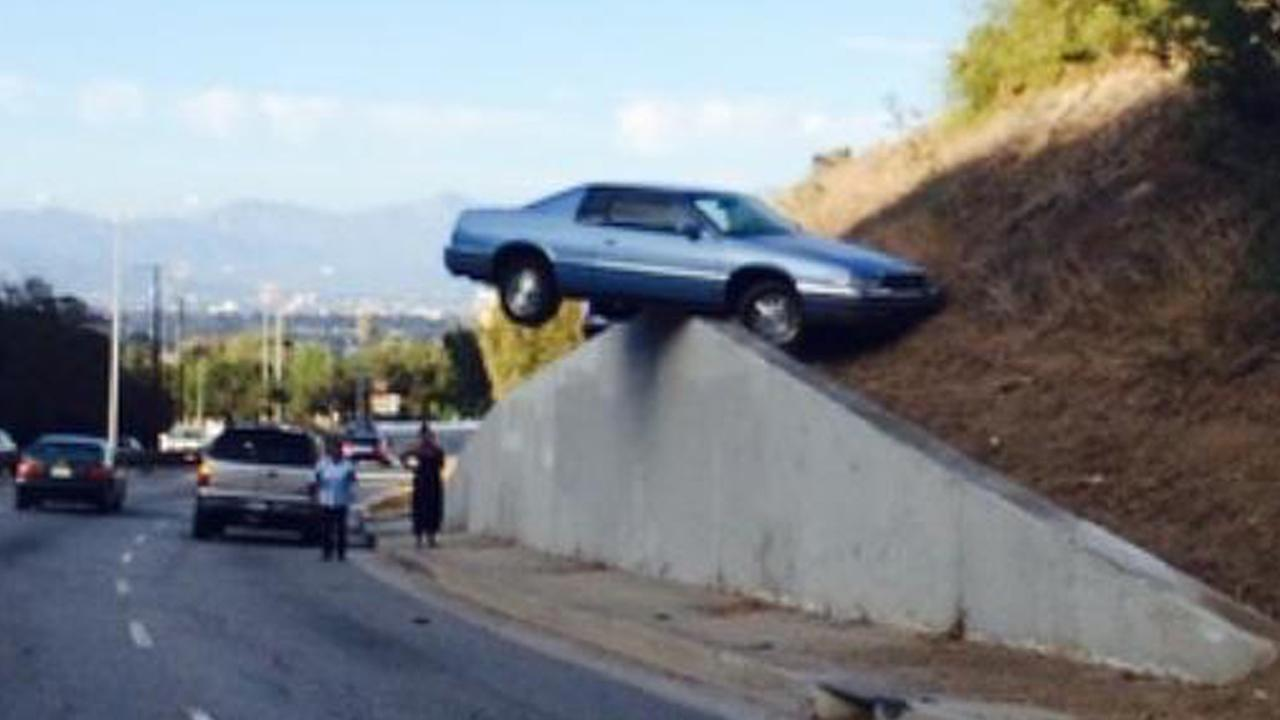 ABC7 viewer @eri_rozay sent in this photo via Twitter of a car that landed on top of a wall in Baldwin Hills on Sunday, Aug. 24, 2014.