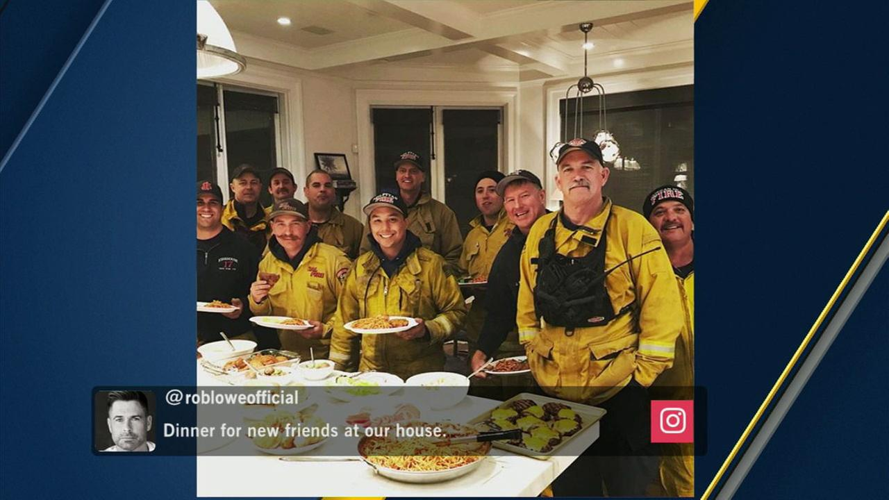 Rob Lowe invited firefighters over to his Montecito home to thank them for their efforts battling the Thomas Fire.