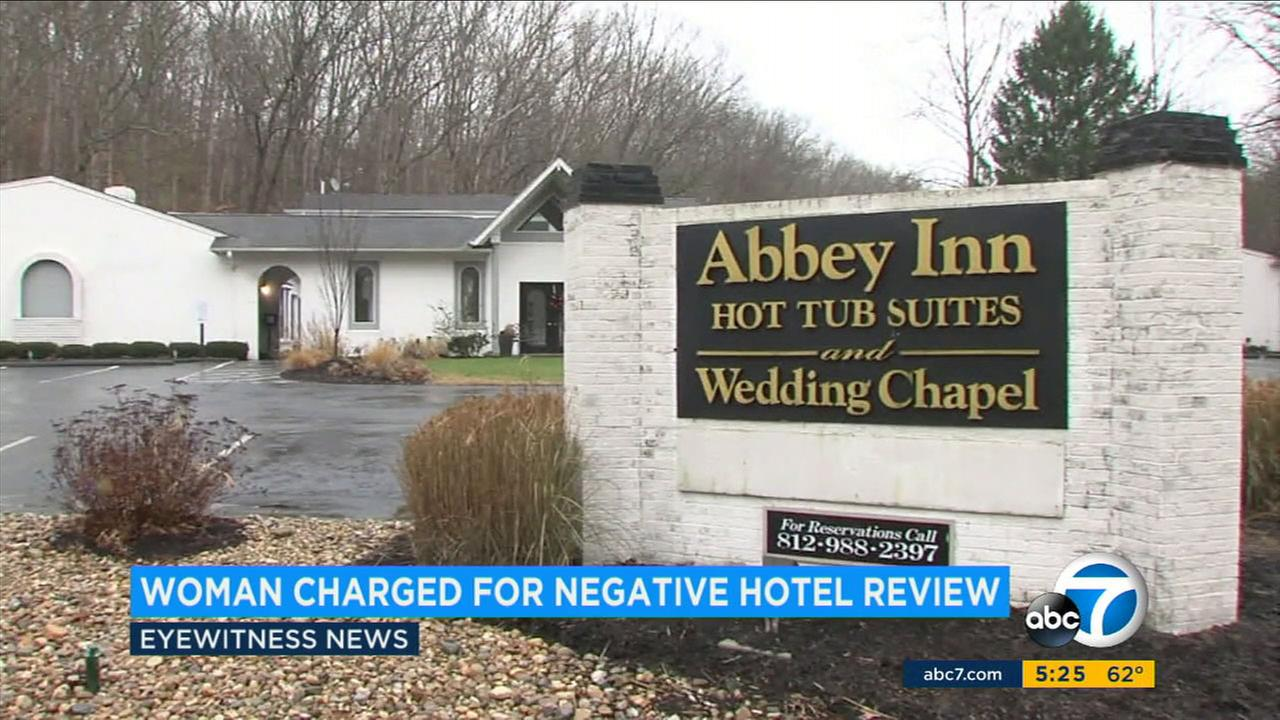 A woman says she was charged $350 after leaving a bad review online about the Abbey Inn and Suites in Indiana last year.