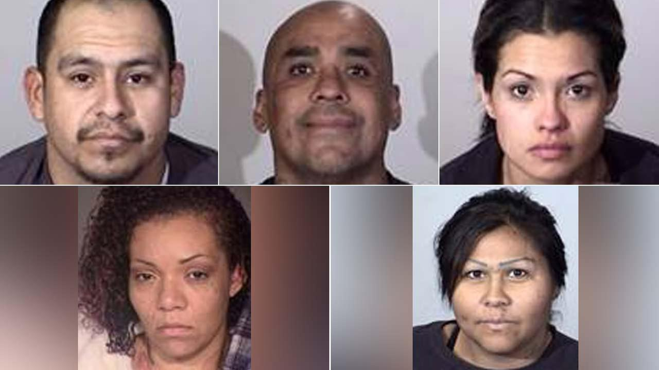 (Top, left to right) David Rosales, Juan Carillo, Lisette Topete, (bottom, left to right) Jasmine Zavala and Maryann Zuniga are seen in booking photos released by Oxnard police.