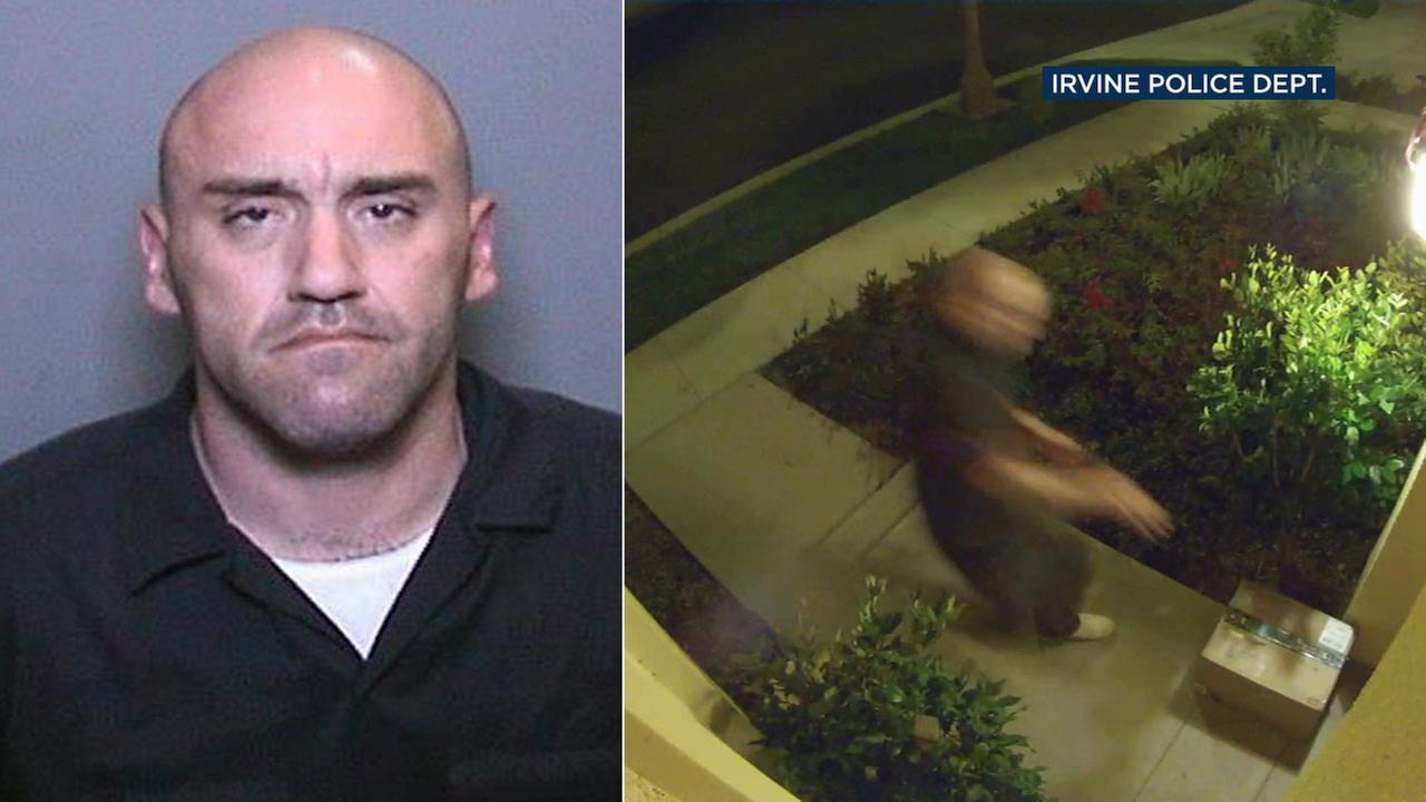 Irvine police say Anthony Brian Palusso of Mission Viejo is suspected in a string of at least 20 package thefts, some of which were caught on surveillance video.