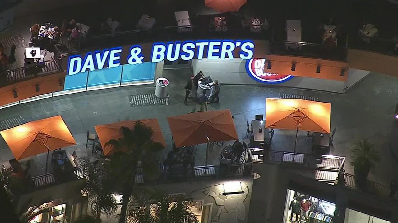 Los Angeles police officers respond to an incident involving Justin Bieber at Dave and Busters in Hollywood on Monday, Aug. 25, 2014.