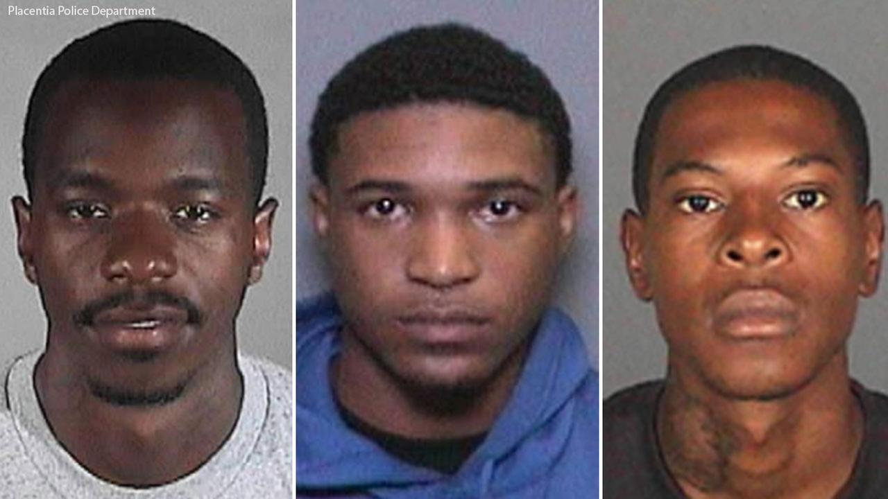 A triple split photo shows three Los Angeles gang members who were arrested for possession of cocaine and burglary tools, and conspiracy to commit residential burglary.