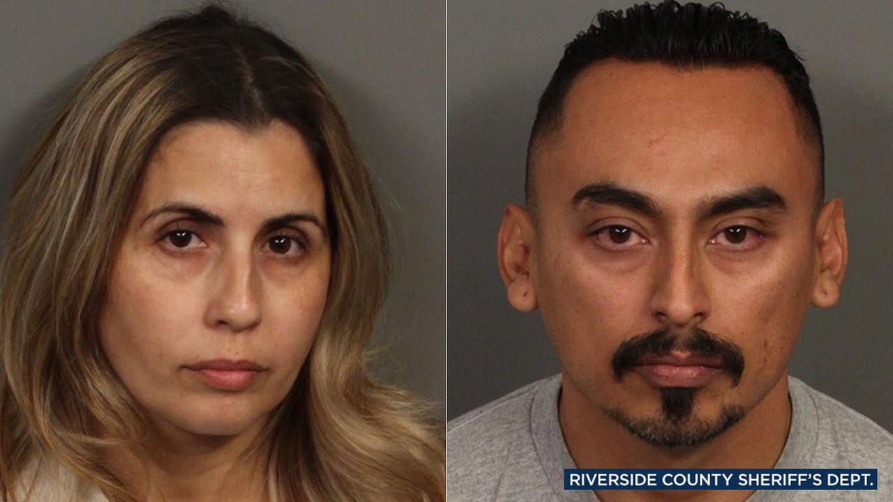 Former Riverside County sheriffs deputy Oscar Rodriguez (right) is accused of murder and Diana Perez (left), is accused of accessory in the death of Luis Carlos Morin Jr.