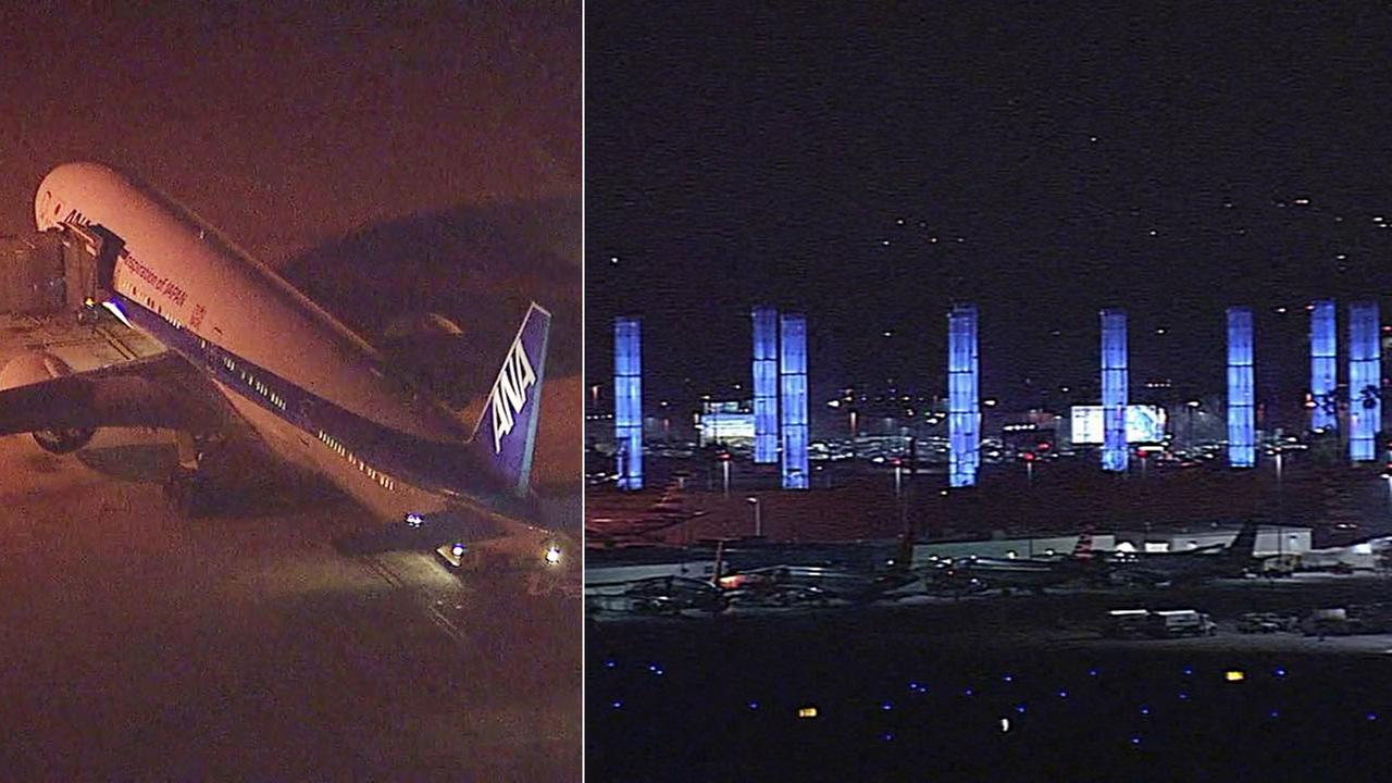 An ANA flight (left) that was diverted back to Los Angeles International Airport (right) on Tuesday, Dec. 26, 2017, after an unauthorized passenger was able to get on the plane.