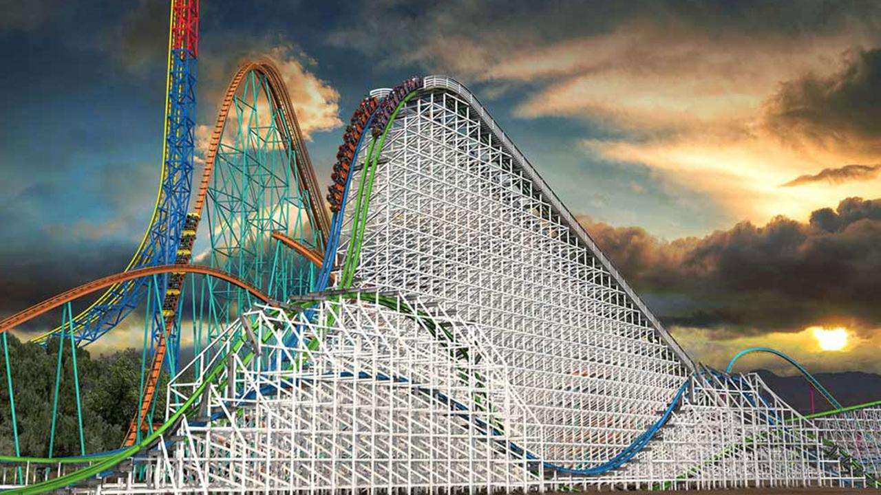 An overview image of Twisted Colossus, which replaces Six Flags Magic Mountains famed wooden roller coaster Colossus.