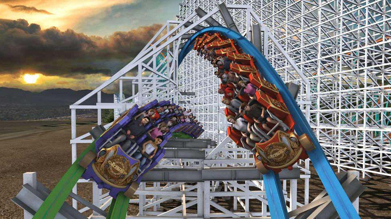 Riders turn to face each other on Twisted Colossus.