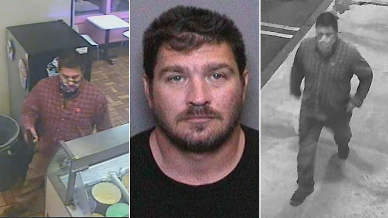 Matthew Scott Rendon, 36, is seen in surveillance images and a booking photo provided by the Orange County Sheriffs Department.