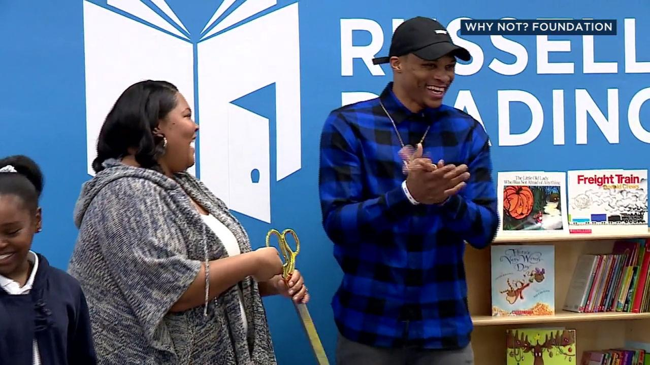 NBA star Russell Westbrook opened his 20th reading room Friday at Highland Elementary in Inglewood, and announced nine more reading rooms would open in LA.