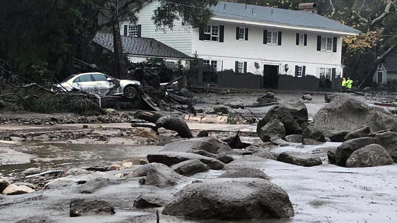 In this photo provided by Santa Barbara County Fire Department, mud and debris flow due to heavy rain in Montecito. Calif., Tuesday, Jan. 9, 2018.