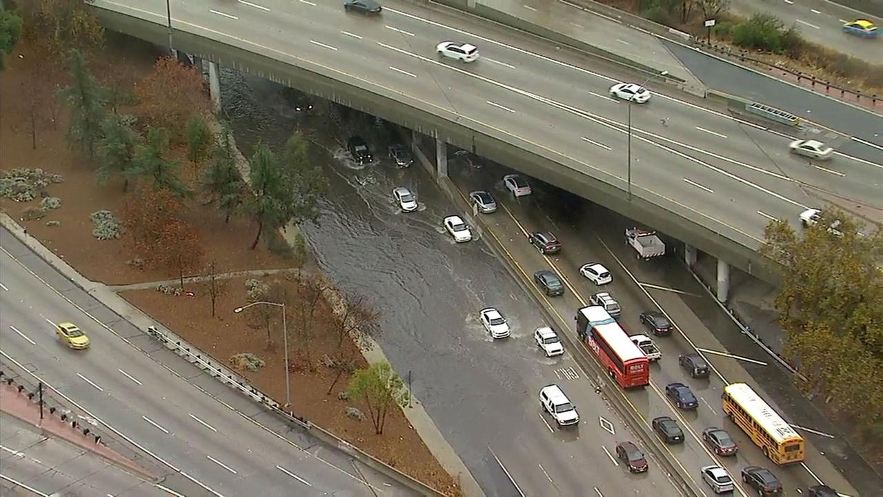 In North Hollywood, the California Highway Patrol shut down all lanes of the 170 Freeway near the 101/134 interchange due to significant flooding in the roadway.
