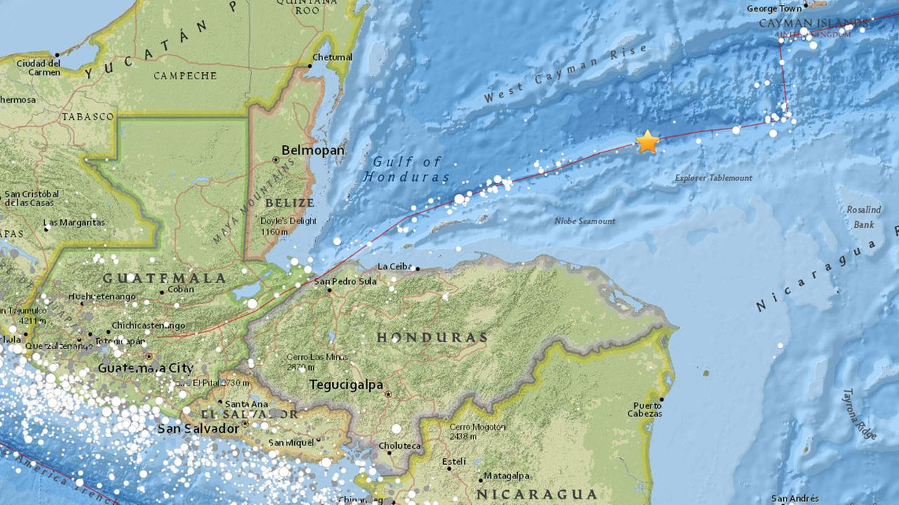 A map from the U.S. Geological Survey shows where a 7.8-magnitude earthquake struck off the coast of Honduras.