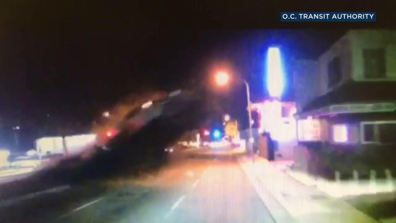 A car went flying into the air in the path of an oncoming OCTA bus in Santa Ana.